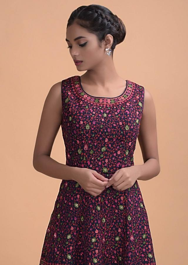 Midnight Blue Palazzo Suit With A Flared Kurti With Floral Jaal Online - Kalki Fashion