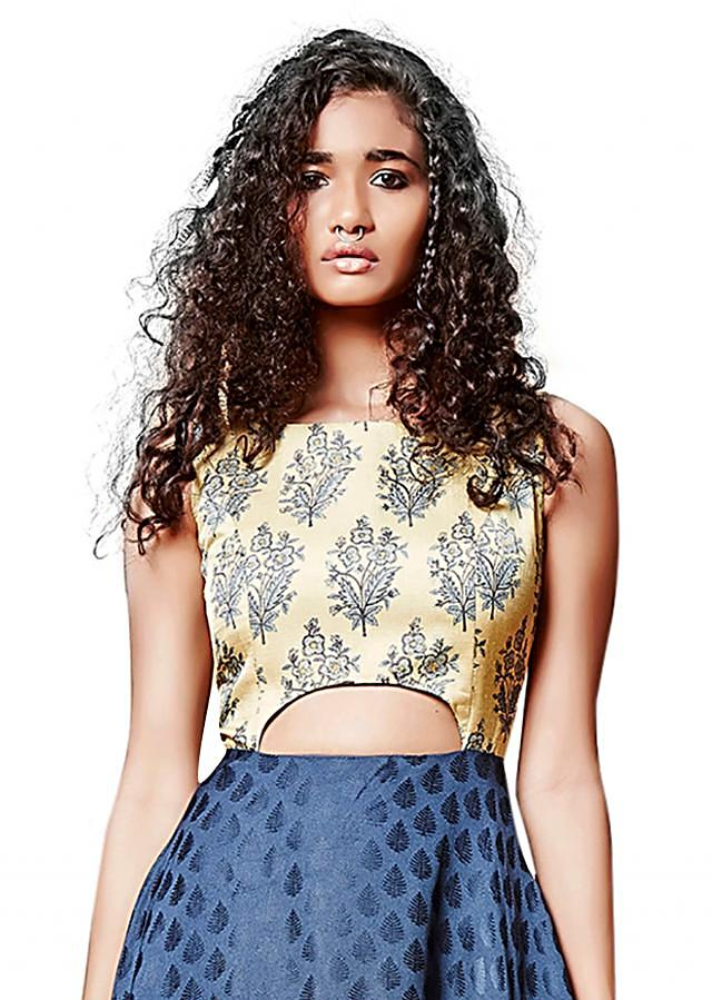 Midnight blue printed dress with cut out at waist only on Kalki