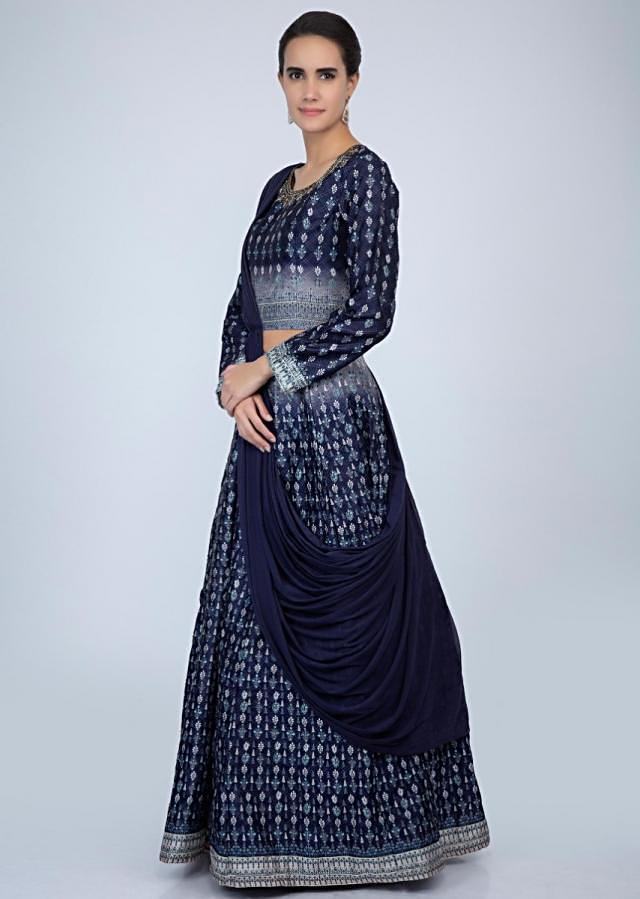 Midnight blue printed raw silk lehenga with matching blouse with attached drape lycra dupatta only on Kalki