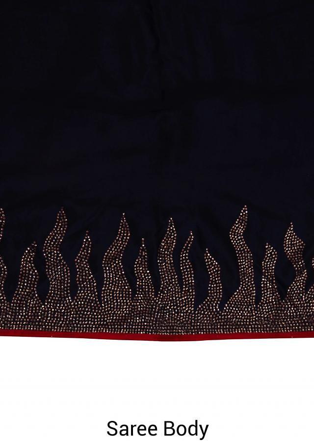 Midnight blue saree with red embroidered stitched blouse only on Kalki