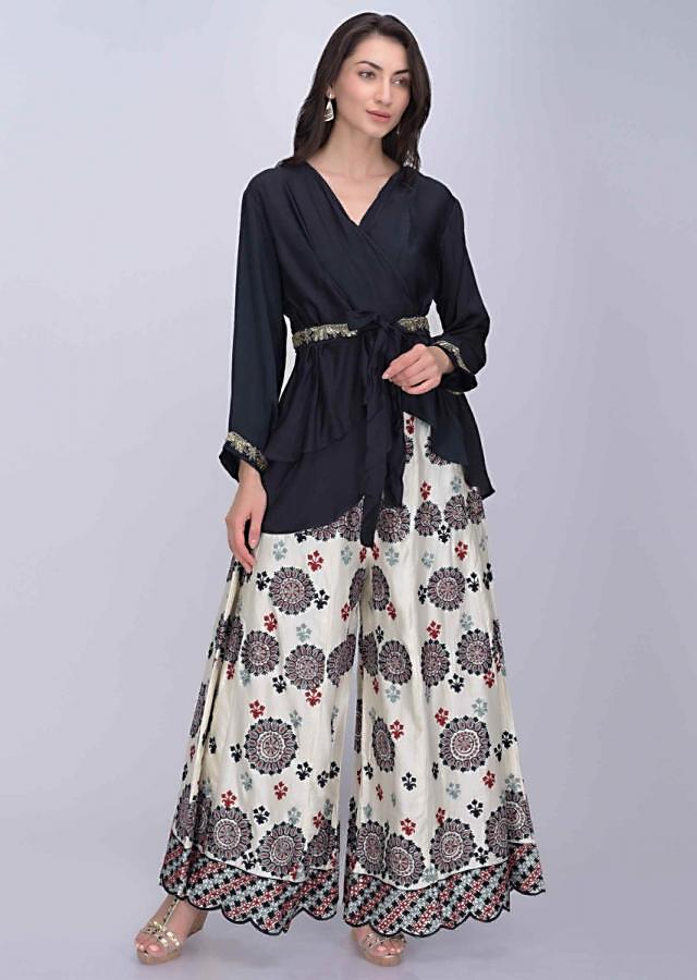 Midnight blue satin crepe crop top and jacket with off white flared cotton silk palazzo only on Kalki