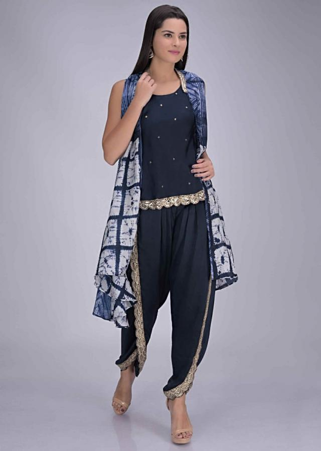 Midnight Blue Dhoti And Crop Top Set In Satin Silk With Silk Printed Jacket Online - Kalki Fashion