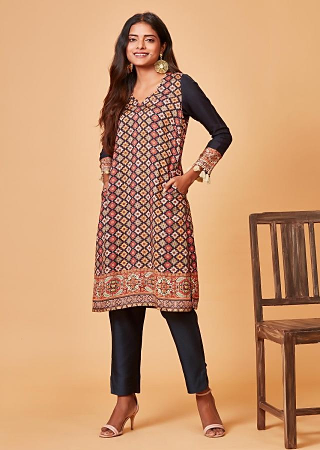 Midnight Blue Straight Cut Suit With Multi Color Printed Buttis Online - Kalki Fashion