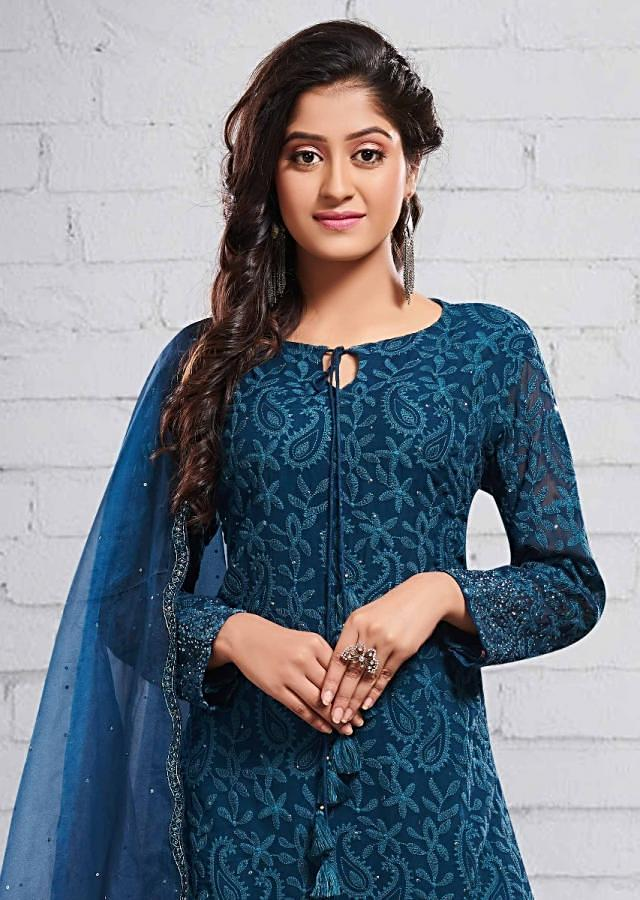 Midnight Blue Straight Sharara Suit In Georgette With Lucknowi Embroidery Online - Kalki Fashion