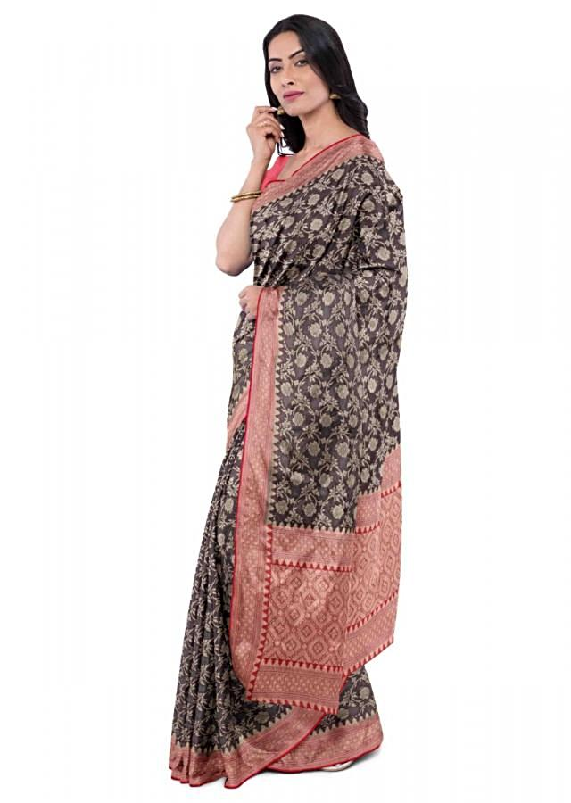 Midnight Purple Chiffon Saree With Floral Jaal Work And Red Blouse Piece Online - Kalki Fashion