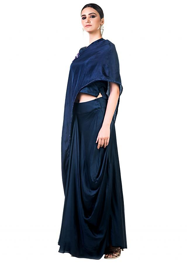 Midnight Blue Draped Gown With A Hand Embroidered Cape Dupatta Online - Kalki Fashion