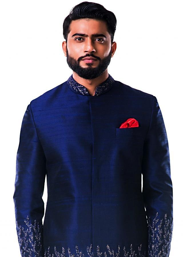 Midnight blue hand embroidered thread work sherwani set only on Kalki