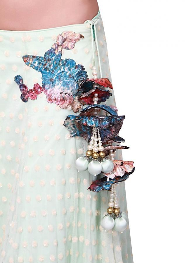 Mint lehenga adorn in printed applique embroidery only on Kalki