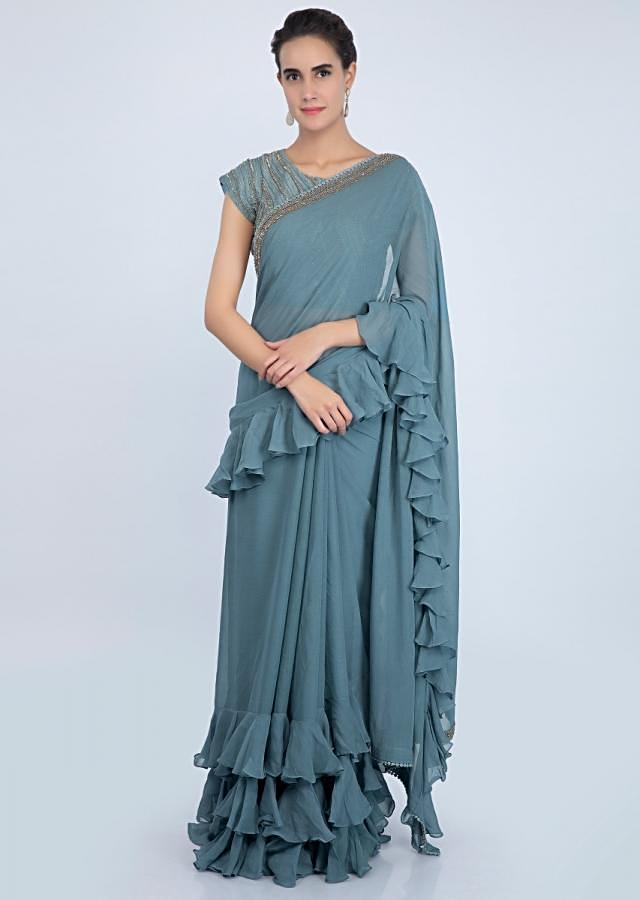 Mineral alloy grey georgette saree with ruffles on the hem and pallo only on kalki