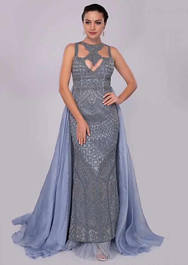 Mineral alloy blue A line embroidered net gown with organza and net back kali with trail only on Kalki