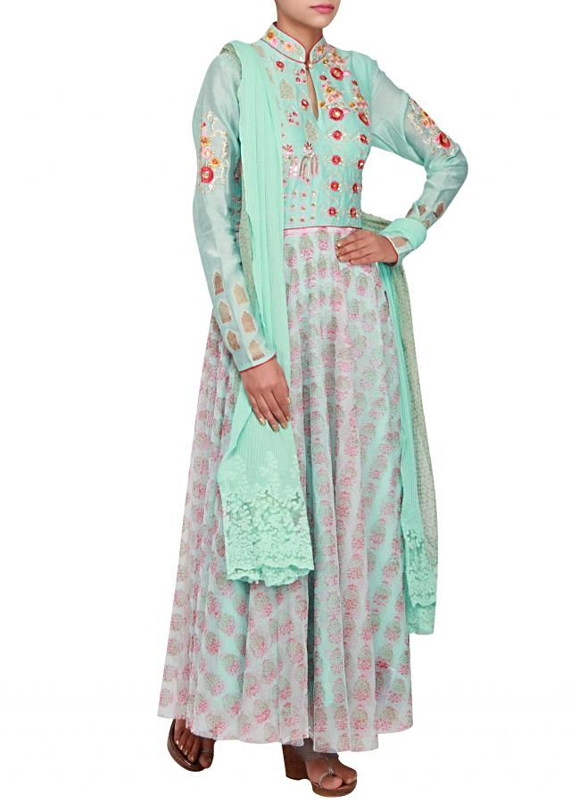 Mint anarkali in silk and net embellished in resham and sequin only on Kalki