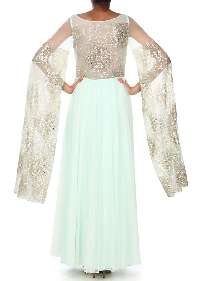 Mint blue anarkali suit adorn in sequin embroidery only on Kalki