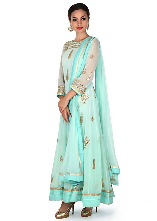 Mint blue anarkali suit adorn in gotta patch embroidery only on Kalki