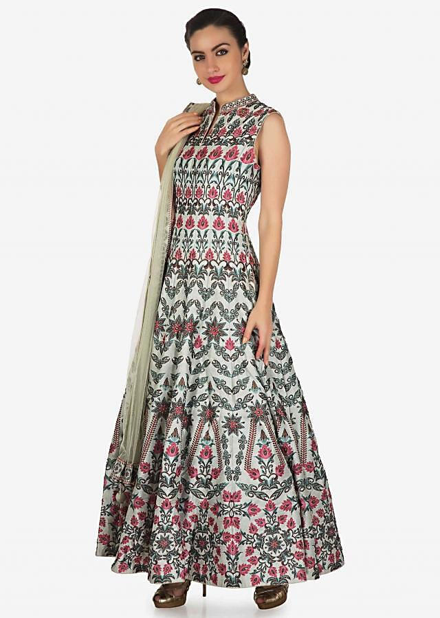 Mint blue anarkali suit in raw silk with digital print in floral motif only on Kalki