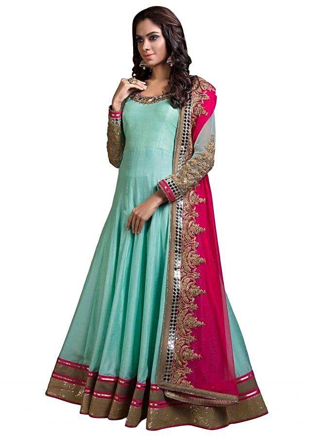 Mint blue anarkali suit with embroidered dupatta