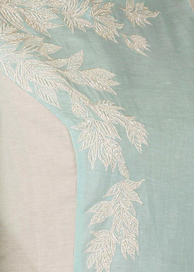 Mint blue and cream suit set with leaf motif embroidery