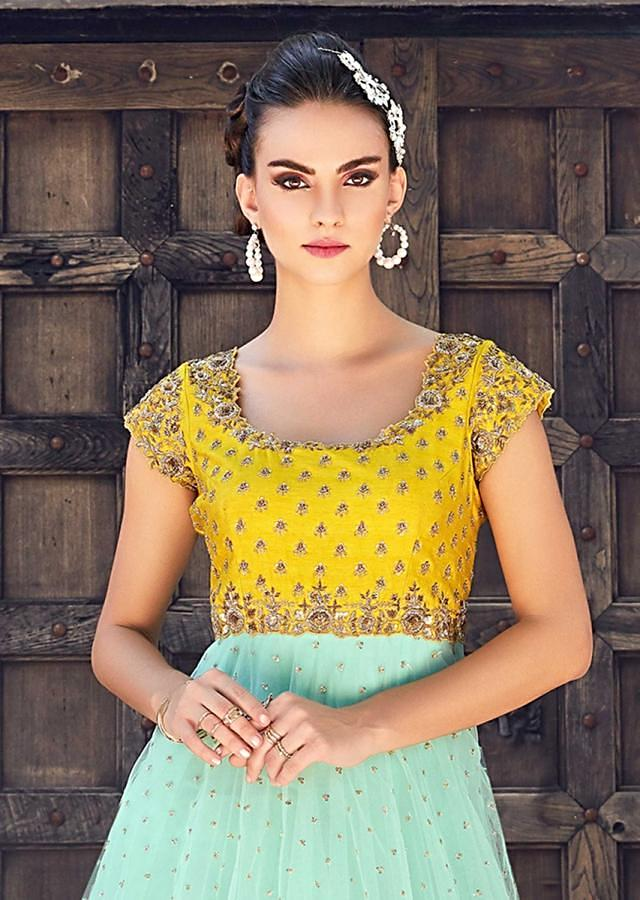 Mint Blue And Yellow Anarkali Suit In Net With Embroidered Bodice Online - Kalki Fashion