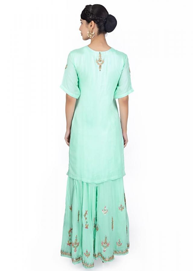 Mint Blue Suit In Cotton Paired With Embroidered Palazzo And Chiffon Dupatta Online - Kalki Fashion