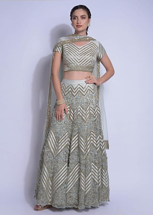 Mint Blue Lehenga Choli With Embroidered Chevron Pattern Online - Kalki Fashion