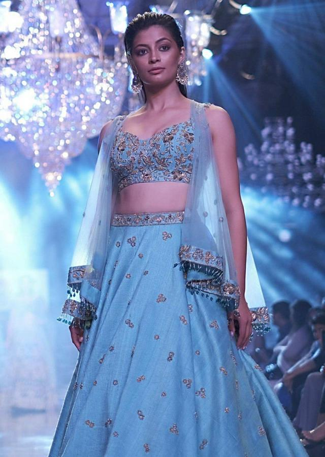 Sea Mists Lehenga Choli With Hand Embroidered Buttis And Net Cape Online - Kalki Fashion