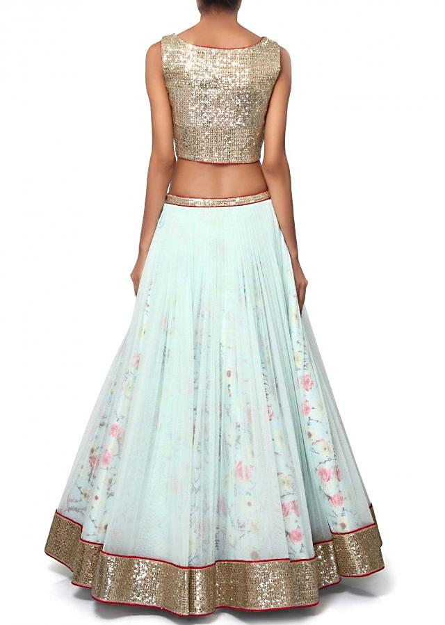 Mint blue lehenga features with embroidered blouse only on Kalki