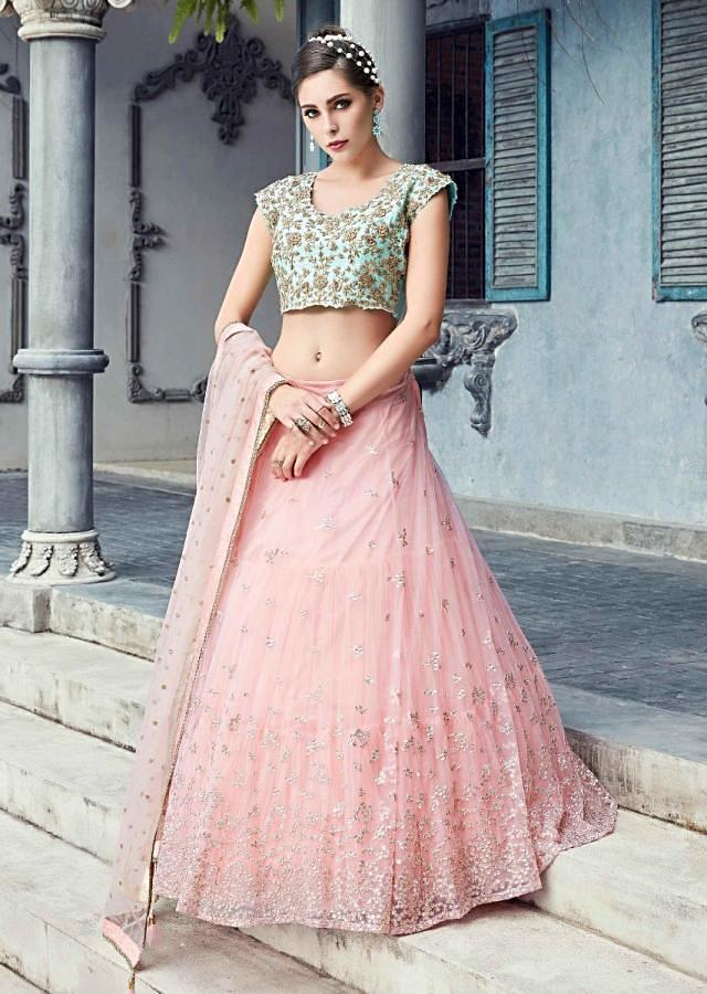 Mint Blue Crop Top In Raw Silk With Salmon Pink Net Skirt And Dupatta Online - Kalki Fashion