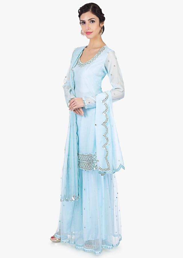 Mint Blue Sharara In Satin Net Paired With A Matching Georgette Suit Online - Kalki Fashion