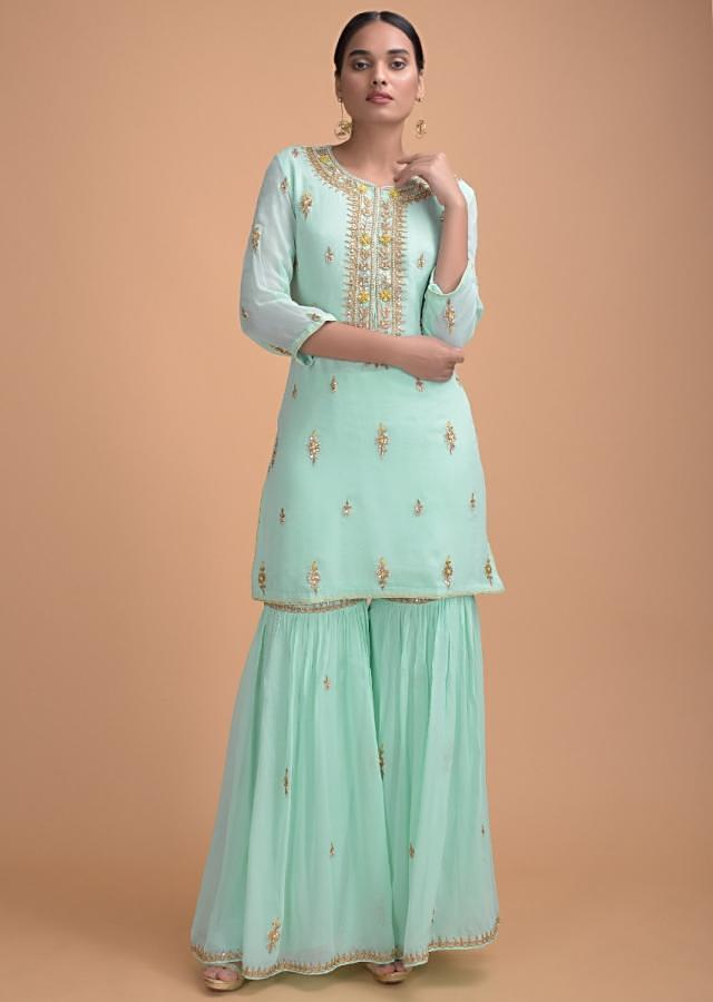 Mint Blue Sharara Suit In Georgette With Gotta Patch Work And Yellow Net Dupatta Online - Kalki Fashion