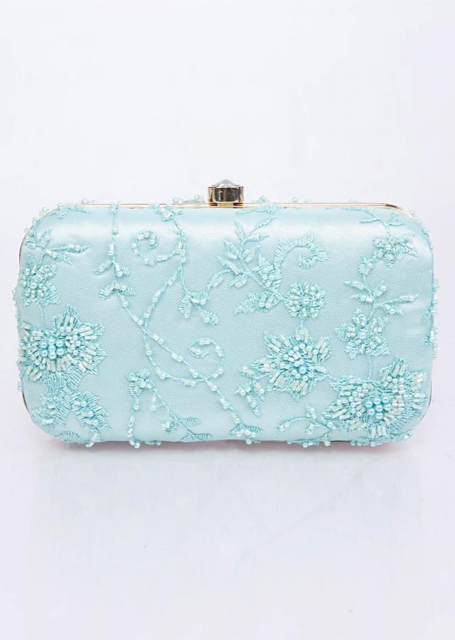 Mint blue sling clutch bag with self resham, moti and cut dana floral embroidery only on Kalki