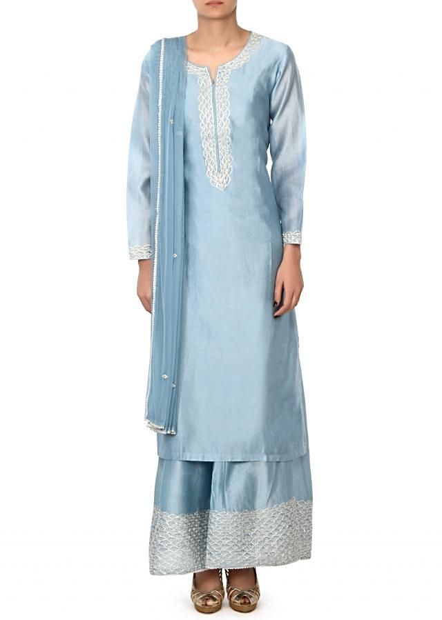 Mint blue straight suit in gotta lace embroidery only on Kalki