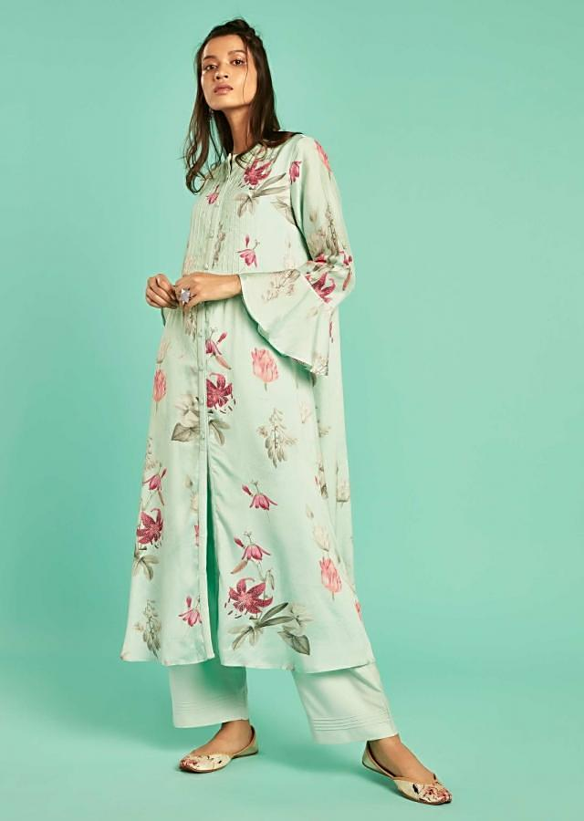 Mint Green A Line Suit With Floral Print And Bell Sleeves