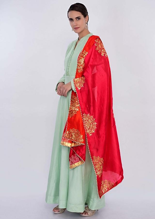 Mint Green Anarkali Dress With Shaded Dupatta Online - Kalki Fashion