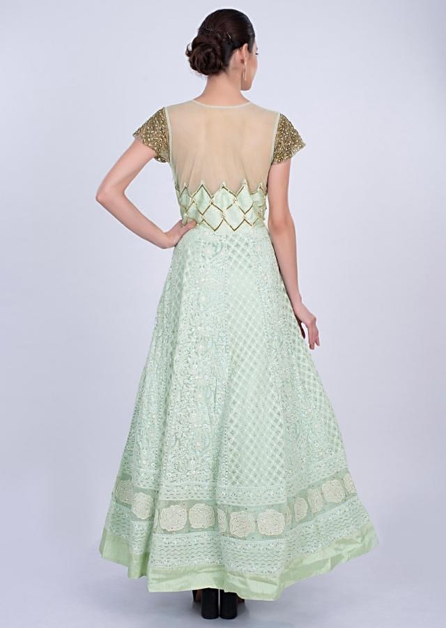 Mint Green Anarkali Gown In Alternate Embroidery Online - Kalki Fashion