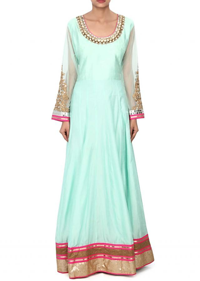Mint green anarkali suit adorn in mirror and zari embroidery only on Kalki