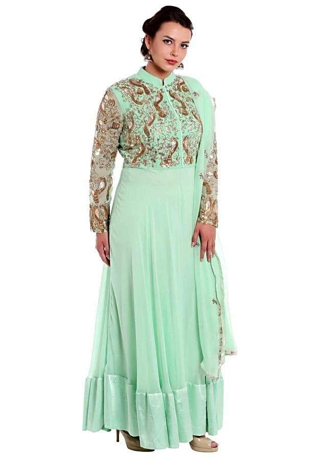 Mint green anarkali suit in embroidered bodice and sleeve only on Kalki