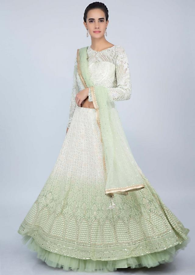 Mint Green And White Shaded Lehenga With In Lucknowi Embroidery With Moti Studded Net Blouse Online - Kalki Fashion