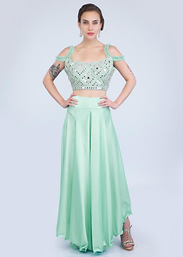 Mint Green Asymmetric Skirt With Mirror And Cut Dana Embroidered Blouse And Ruffled Dupatta Online - Kalki Fashion