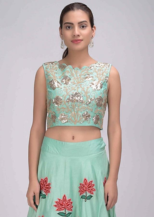 Mint green cotton lehenga set with organza cape only on Kalki
