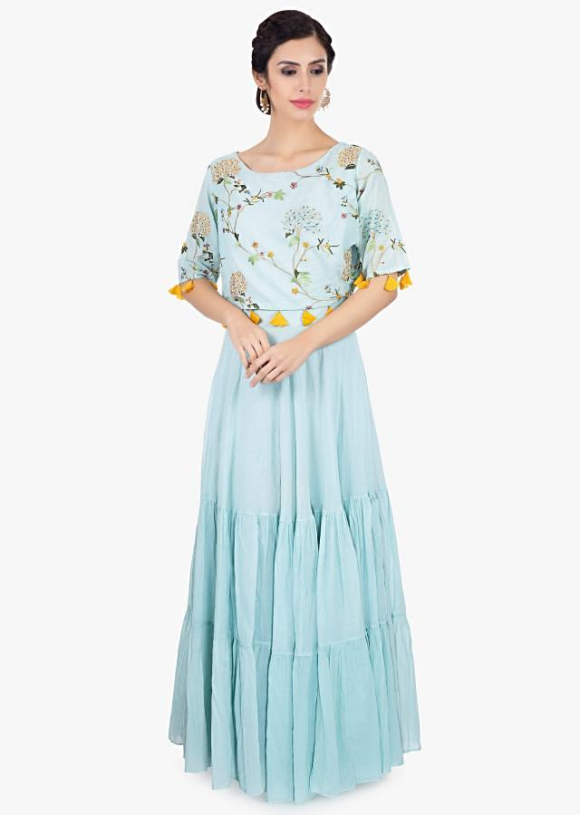 Mint green cotton tunic dress with resham embroidered top layer only on Kalki