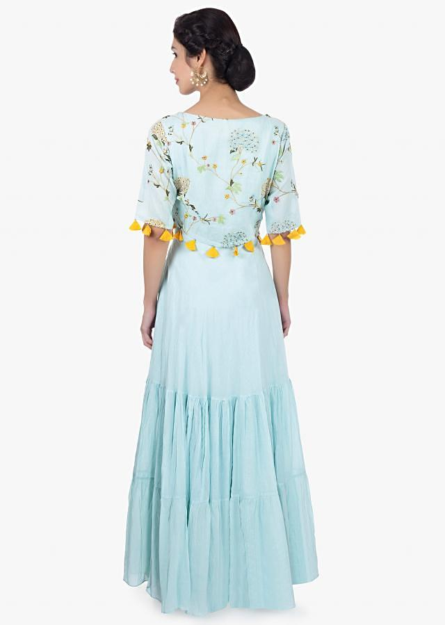 Mint Green Tunic Dress In Cotton With Resham Embroidered Top Layer Online - Kalki Fashion