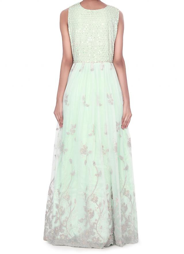 Mint green dress enhanced in kardana and moti embroidery only on Kalki