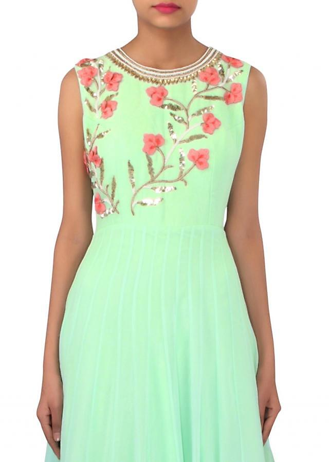 Mint green dress with 3D flower embroidery only on Kalki