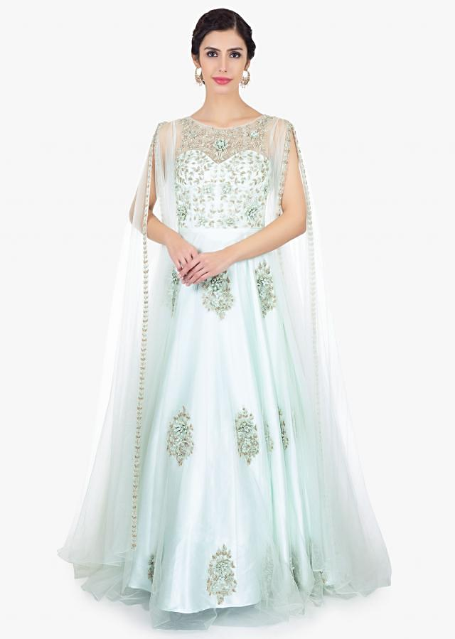 Mint green embroidered net gown with long fancy sleeves with slits only on Kalki