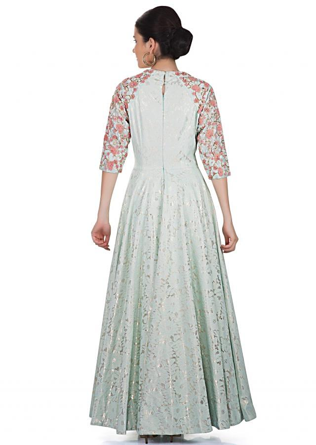 Mint Green Fancy Lace Gown Styled with Resham French Knot Embroidery and Fancy Neckline only on Kalki