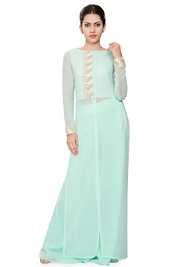 Mint green front open tunic with lace