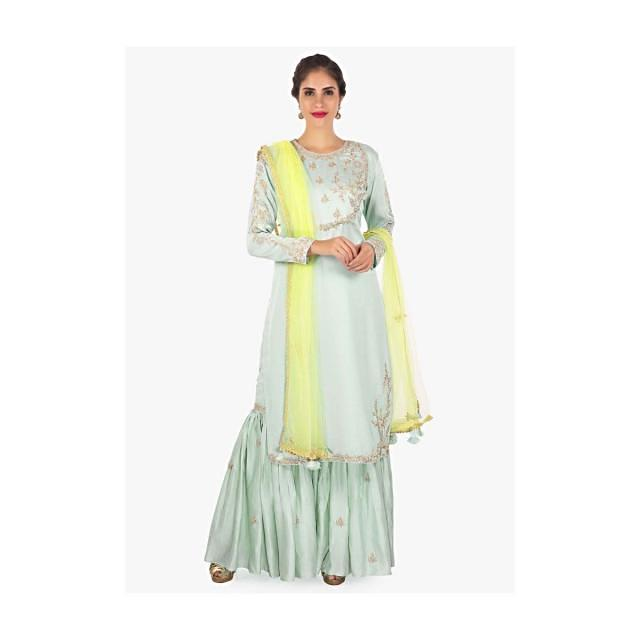 Mint green kurti in zardosi , sequin embroidery with sharara pant and yellow net dupatta only on Kalki