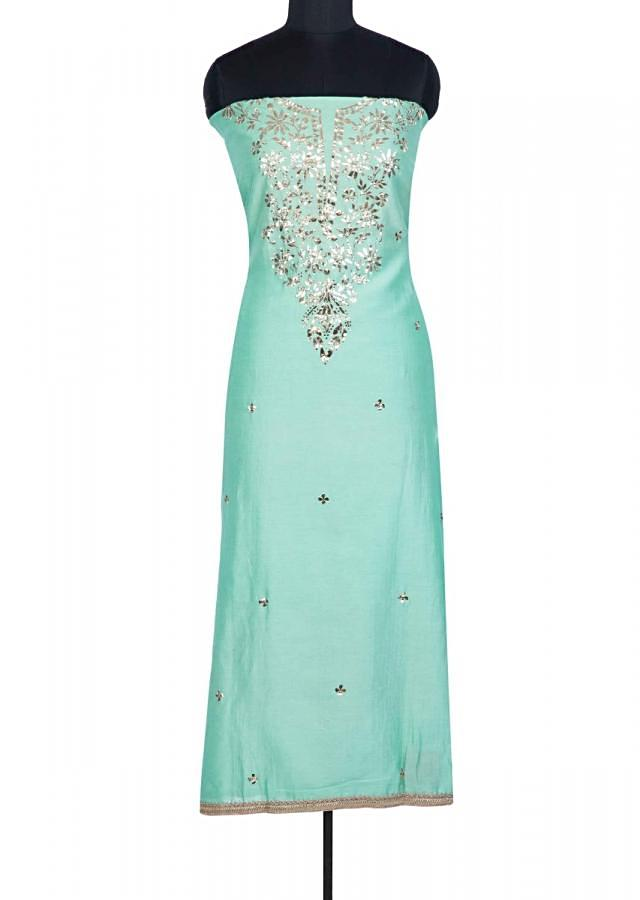 Mint green lace embroidered unstitched silk suit with contrasting pink organza dupatta only on Kalki