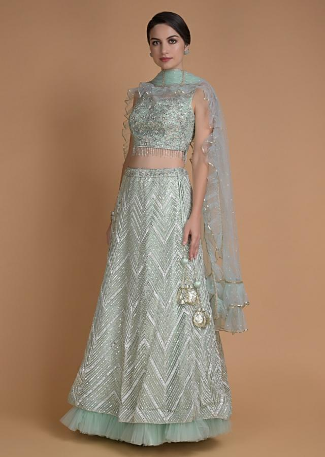 Mint Green Lehenga Choli With Abla Work In Chevron Pattern Online - Kalki Fashion