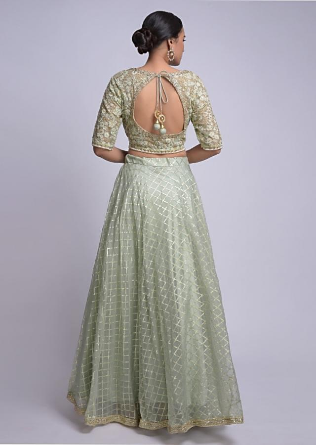 Mint Green Lehenga Choli With Weaved Checks And Floral Jaal Embroidery Online - Kalki Fashion