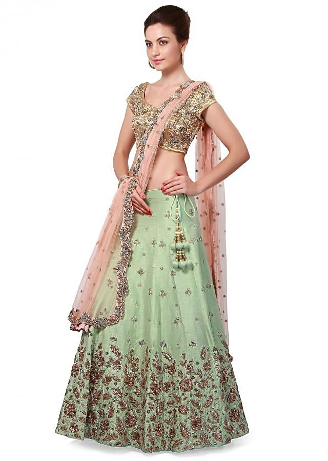 Mint green lehenga featuring with resham and zari embroidery only on Kalki